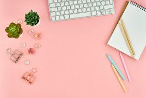 top view of modern pink woman office desktop with YMCK8GU 300x201 - top-view-of-modern-pink-woman-office-desktop-with-YMCK8GU.jpg